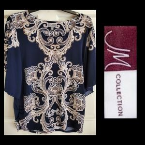 JM COLLECTION Navy Blue Blouse EUC Size Medium